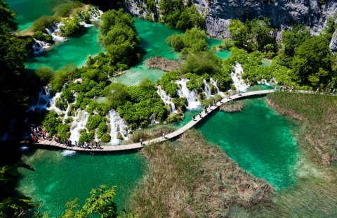 Gangbro i Plitvice nationalpark.