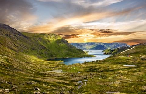 Udsigt over Honningsvåg i Norge.