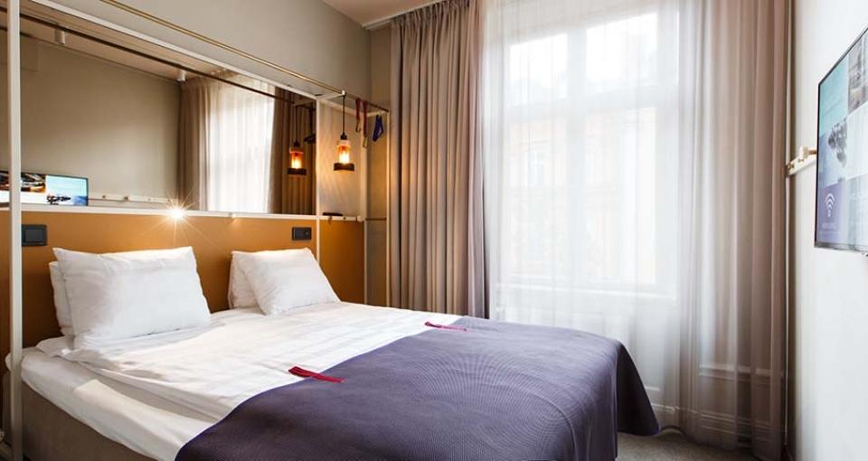Eksempel på et standardværelse på Hotel Scandic No 53.