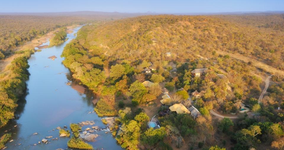 Udsigt over Balue River Camp og Olifantsfloden.