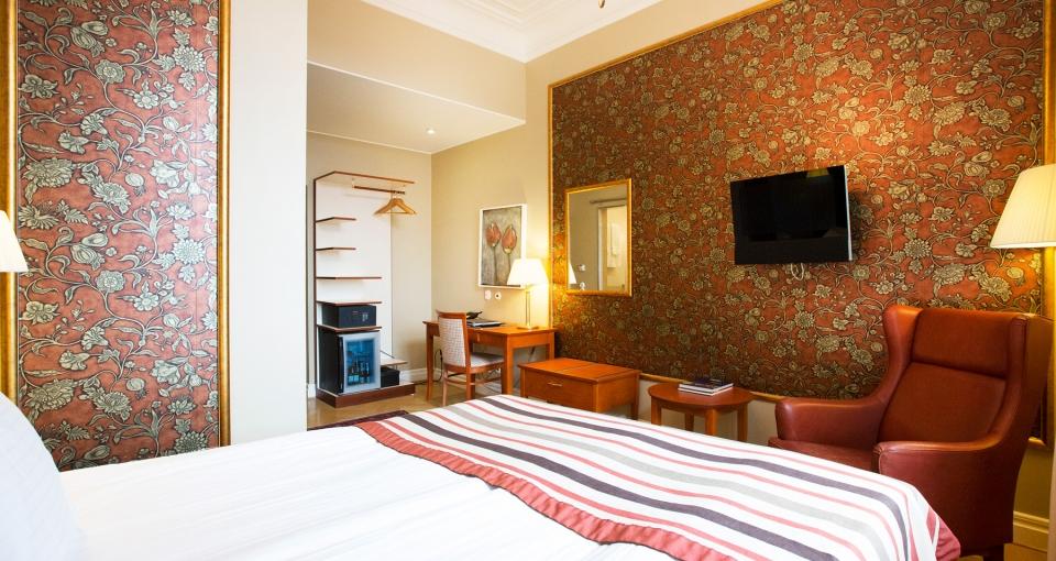 Eksempel på standard dobbeltværelse på Grand Hotel i Lund.