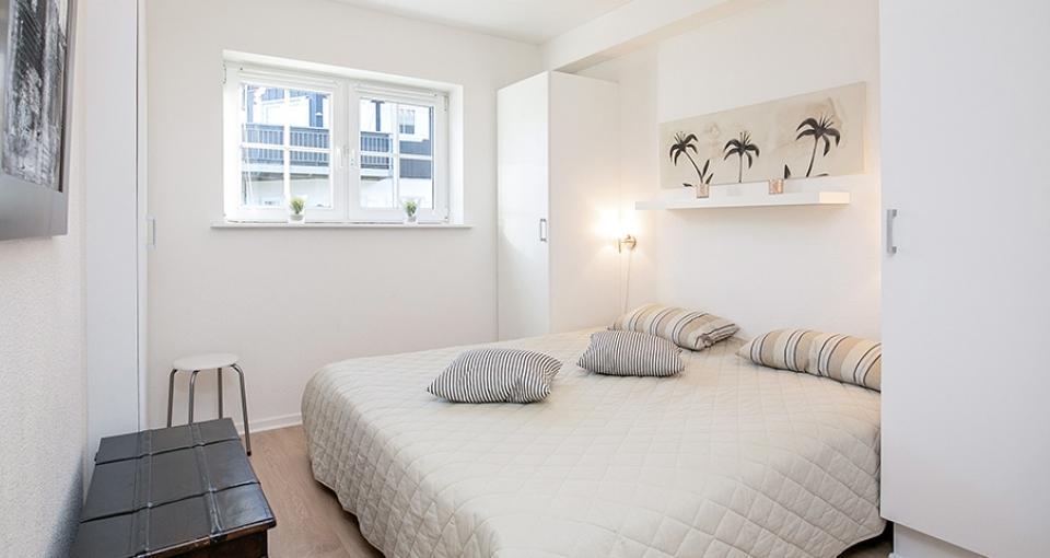 Eksempel på soveværelse på Bogense Strand Feriecenter.