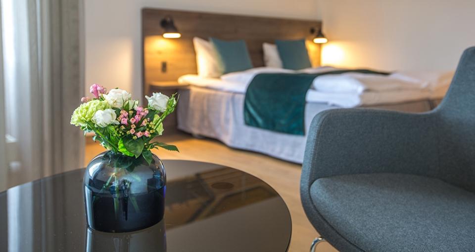 Eksempel på dobbeltværelse på Comwell H. C. Andersen Hotel i Odense.