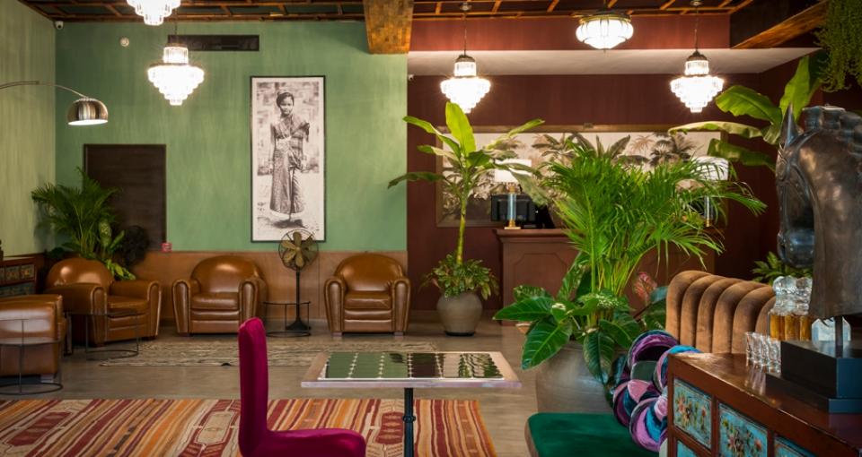 Lobbyen på Lao Poete Hotel.