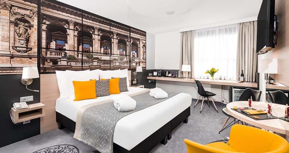 Eksempel på de flotte standard værelser på Mercure Budapest City Center Hotel.