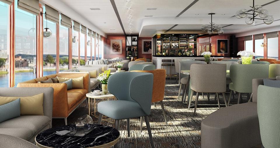 Den indbydende bar/lounge på MS Vivienne.