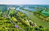 Udsigt over Seinen og Les Andelys, Frankrig.