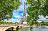 Seinen og Eiffeltårnet i Paris.