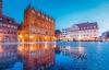 Spejlinger i brostenene i Stralsund.