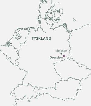 Kort over Tyskland og Dresden