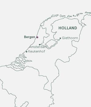 Kort over Holland - Blomsterrejser til Holland