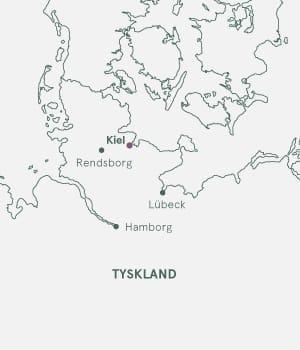 Kort over nordtyskland - Kiel Julemarked