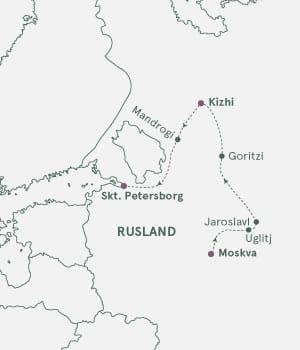Kort over Skt. Petersborg og Moskva