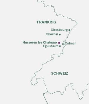 Kort - Alsace og vinruten.