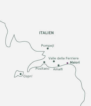 Kort over Amalfikysten, vandreferie - Italien