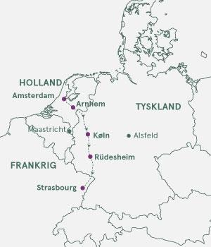 Kort - Rhinen fra Amsterdam til Strasbourg med Andre Rieu-koncert