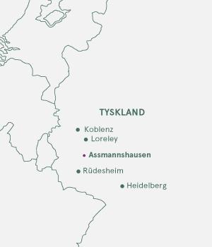 Kort over Tyskland - Rhinen og Assmannshausen