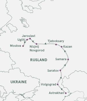 Kort - Astrakhan - Moskva - Sommer 2020