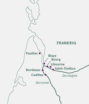 Kort over Frandkrig - Krydstogt ved Bordeax