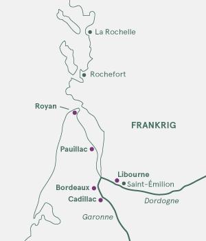 Kort - Krydstogt i Bordeaux - Sommer 2021