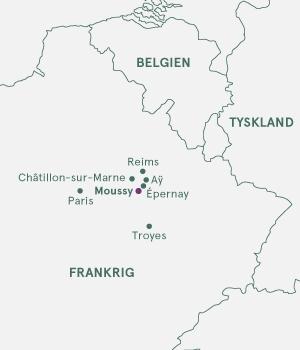 Kort over Champagnevandring i Frankrig.