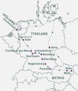 Kort over Tyskland, Østrig og Holland - Donau, Main og Rhinen