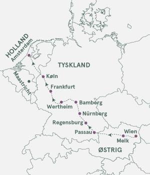Kort - Krydstogt på Donau, Main og Rhinen med Andre Rieu - Sommer 2020