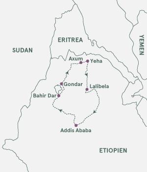 Kort over Etiopien