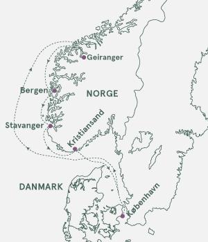 Kort over Norge og Danmark - Fjordkrydstogt i Norge.