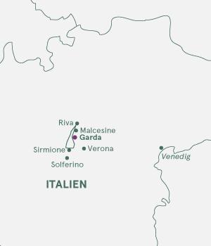 Kort over Gardasøen i Italien