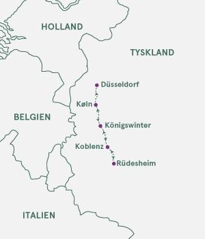 Kort over Tyskland - Jul på Rhinen