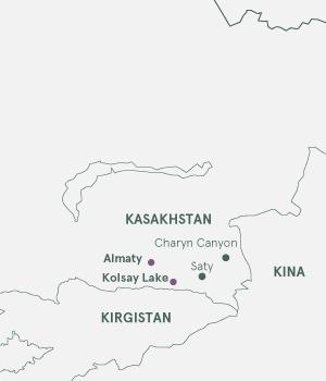 Kort - Rejser til Kasakhstan - Sommer 2020