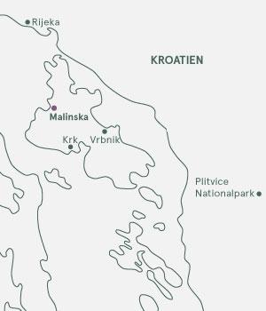 Kort over Kroatien - Krk