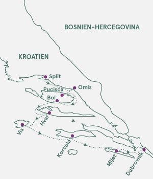 kort over Kroatien -Sskærgårdskrydstogt