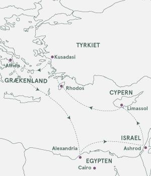 Kort - Krydstogt i Middelhavet - 3 kontinenter - Vinter 2020