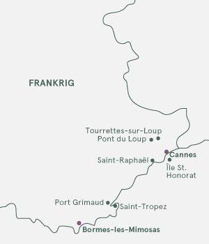 Kort over Sydfrankrig - Mimosevandring