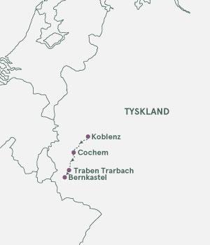 Kort over Tyskland - Mosel - Julemarkedskrydstogt
