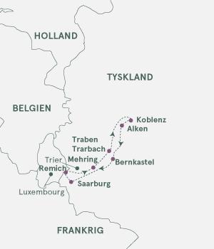 Kort - Krydstogt på Mosel & Saar - Sommer 2020