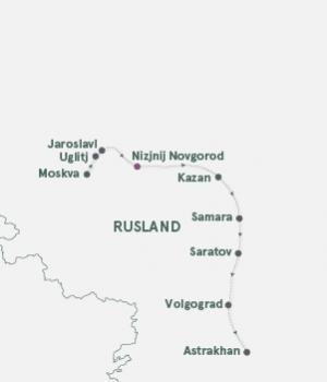Rutekort - Krydstogt Moskva - Volgograd - Astrakhan