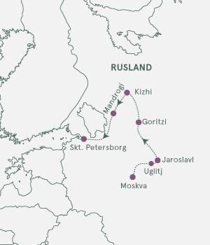 Kort - Krydstogt Moskva - Skt. Petersborg - Sommer 2020