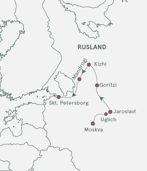 Kort - Krydstogt Moskva - Skt. Petersborg - Sommer 2021