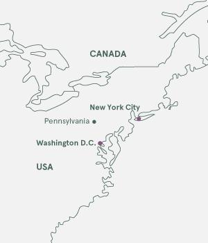 Kort - New York & Washington