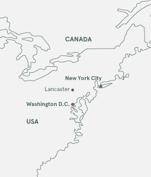Kort - New York og Washington