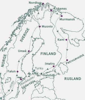 Kort - Nordkap og Russisk Karelen - Sommer 2021