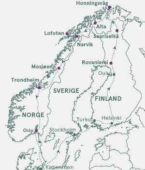 Kort over Norge, Sverige og Finland