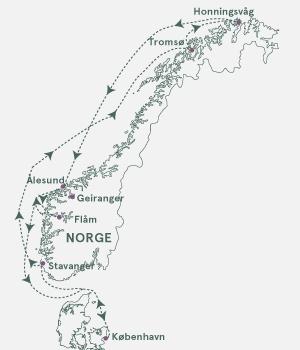 Kort - Krydstogt til Nordkap - Sommer 2020