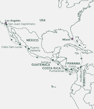 Kort - USA Panama Colombia Costa Rica Guatemala Mexico - Panama og Los Angeles