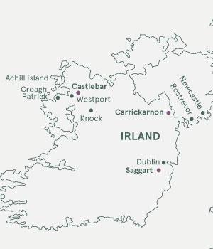 Kort - Pilgrimsvandring i Irland - Sommer 2019