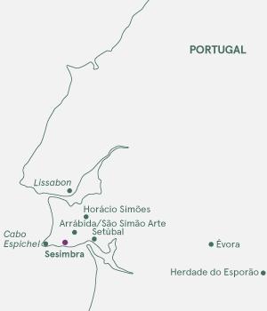 Kort over Portugal - Sesimbra