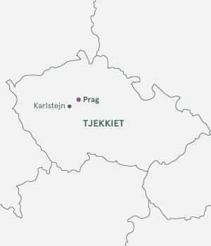 Kort over Tjekkiet - Prag